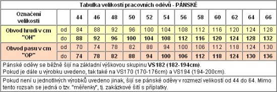 Proto doporučujeme si svou pracovní velikost najít dle svých mír v  tabulkách níže. V případě 0c782567de